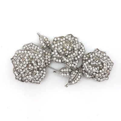 silver rose bridal brooch