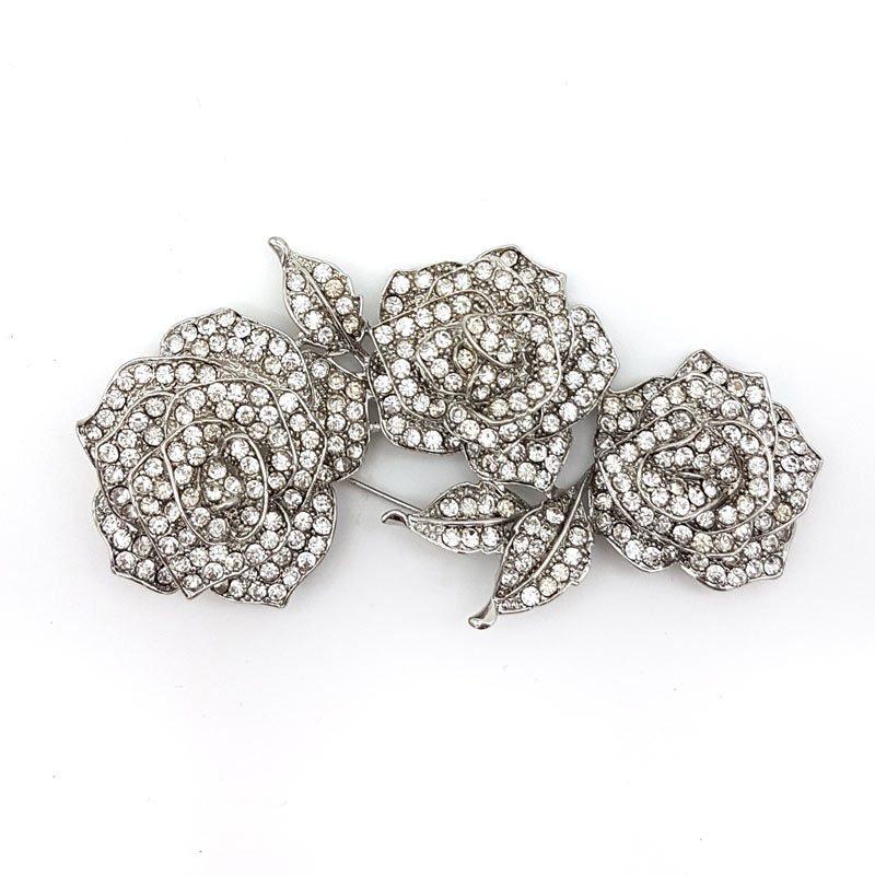 silver rose bridal brooch