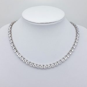 simple silver cz bridal necklace
