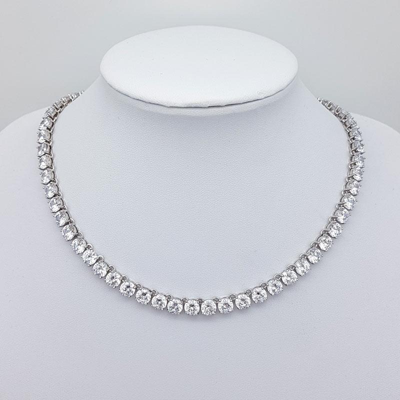 simple silver cz bridal necklace