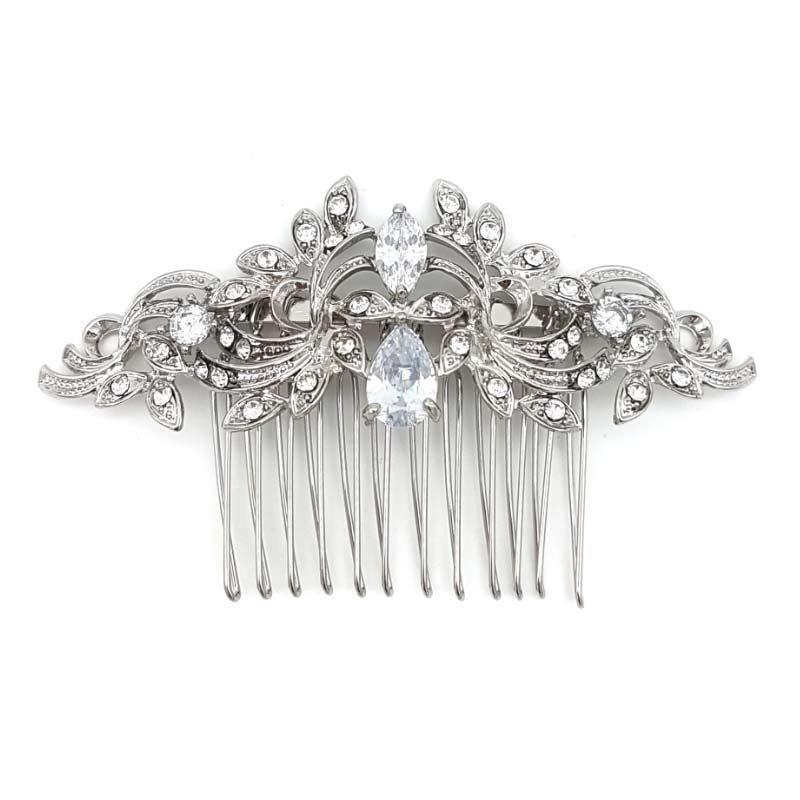 silver cubic zirconia hair comb