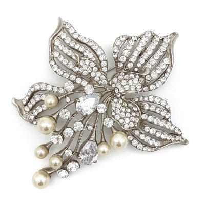silver pearl Wedding Jewellery Brooch