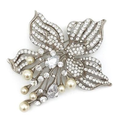 silver pearl Wedding Jewellery Brooch