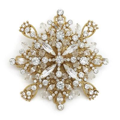 gold vintage swarovski crystal brooch