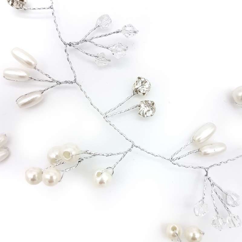 silver pearl and crystal bridal hair vine