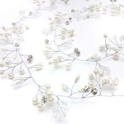 pearl and silver crystal hair vine