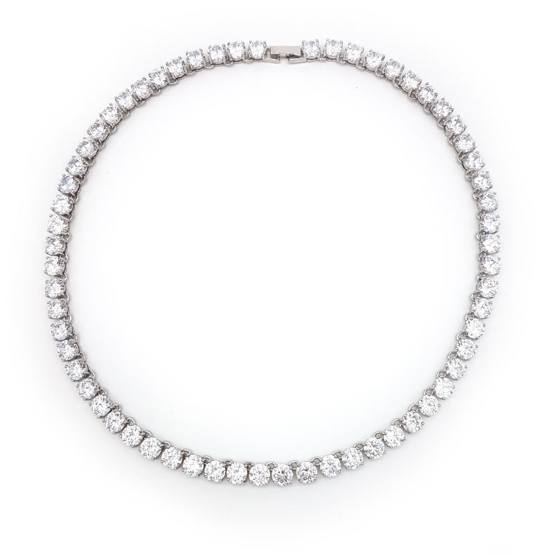 classic silver cubic zirconia bridal necklace