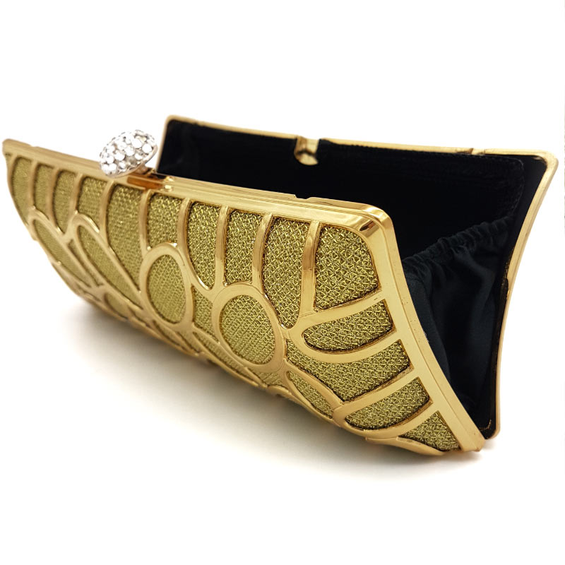 gold detailed bridal clutch