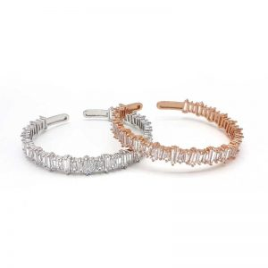 silver or rose gold bridal bangle