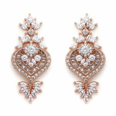 rose gold statement bridal earrings
