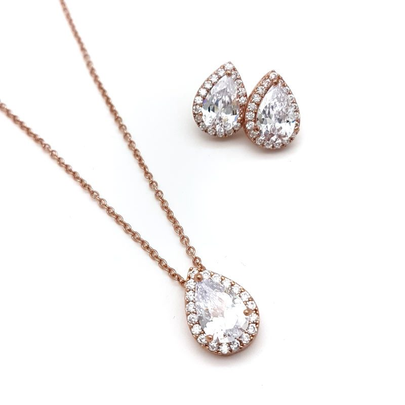 rose gold tear drop pendant necklace set