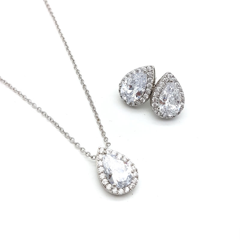 tear drop penadant necklace set