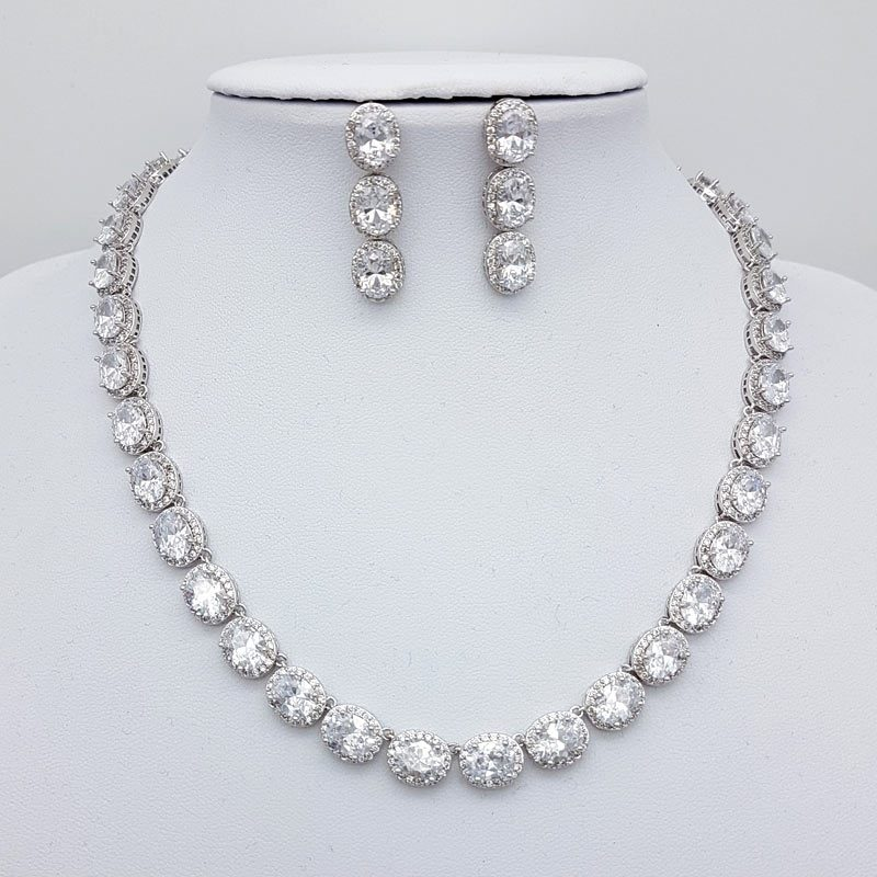 silver cubic zirconia oval necklace earring set