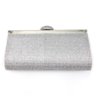 silver diamante bridal clutch