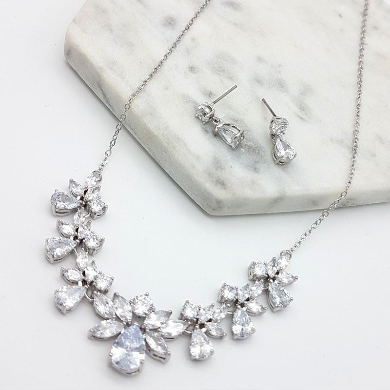 silver cubic zirconia bridal necklace