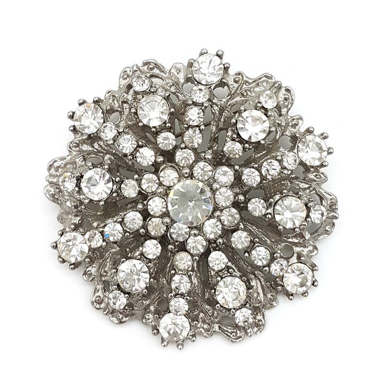 silver vintage bridal brooch