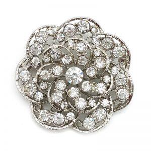 silver flower bridal brooch