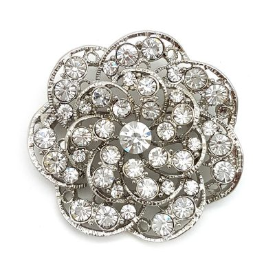 silver flower bridal brooch