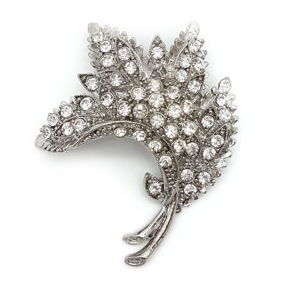 silver leaf bridal brooch