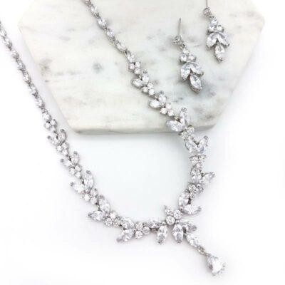 silver bridal necklace set