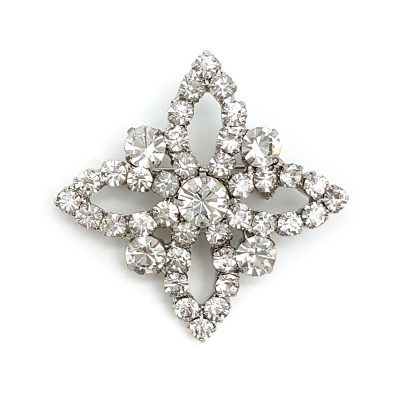 silver diamante bridal brooch