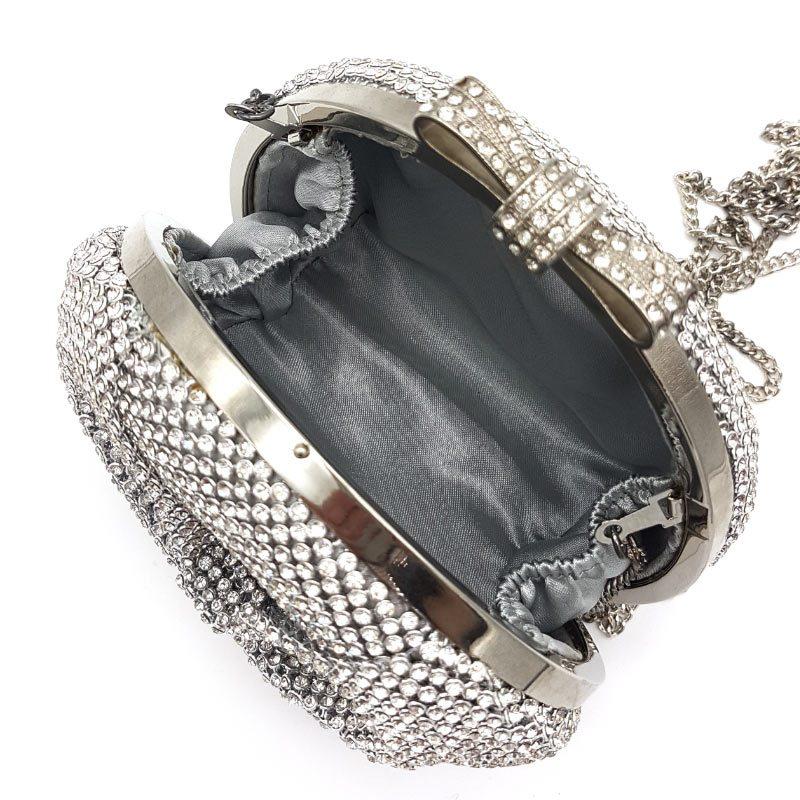 silver bow dimante bridal clutch
