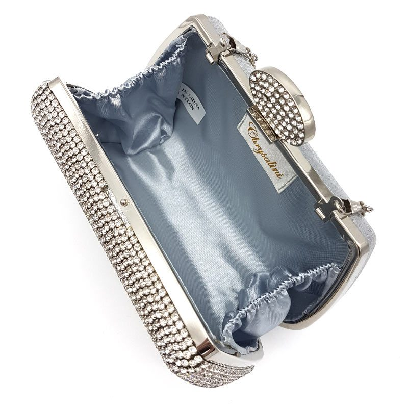 silver diamante bridal evening bag
