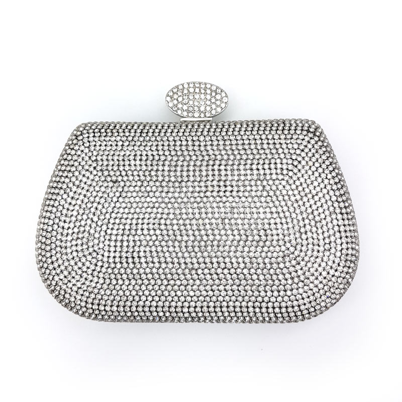 silver diamante bridal clutch
