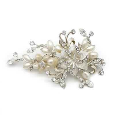 silver pearl bridal brooch