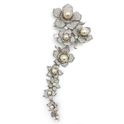 large pearl floral bridal brooch