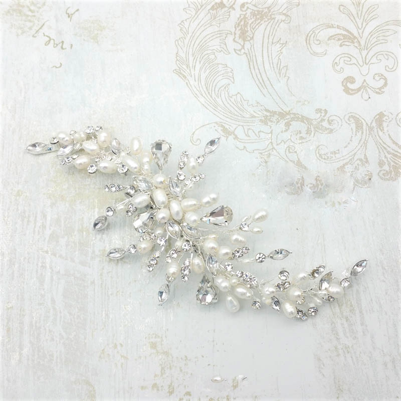 fresh water pearl and crystal hair piece