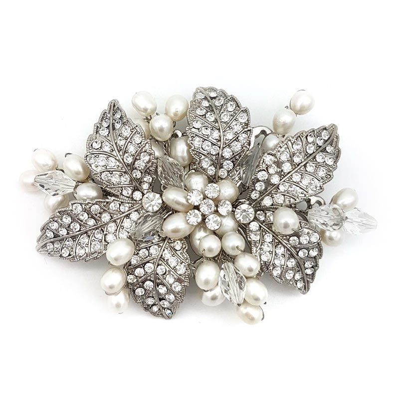 silver crystal bridal brooch