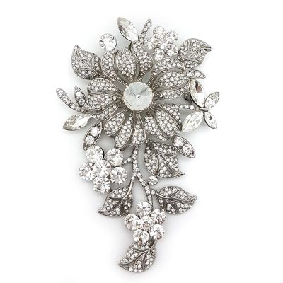 large silver floral diamante brooch