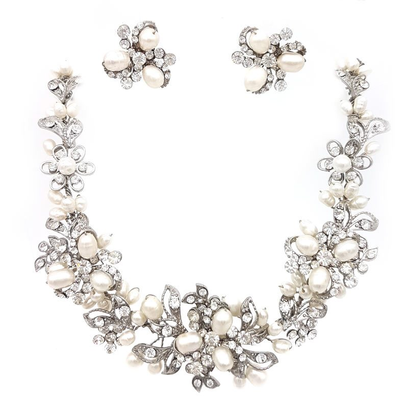 silver pearl and crystal statement bridal necklace set