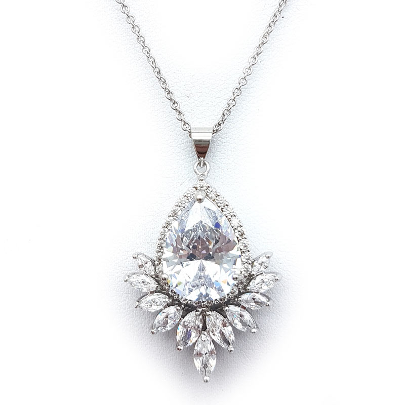 silver bridal drop pendant