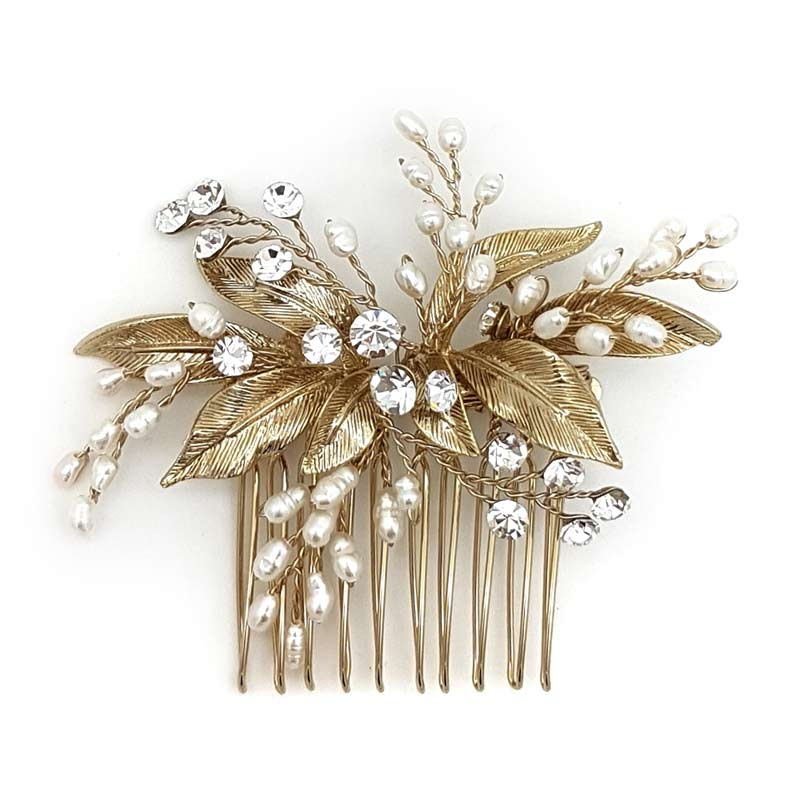 gold fresh water pearl hair comb