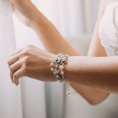 crystal and pearl bespoke bridal bracelet