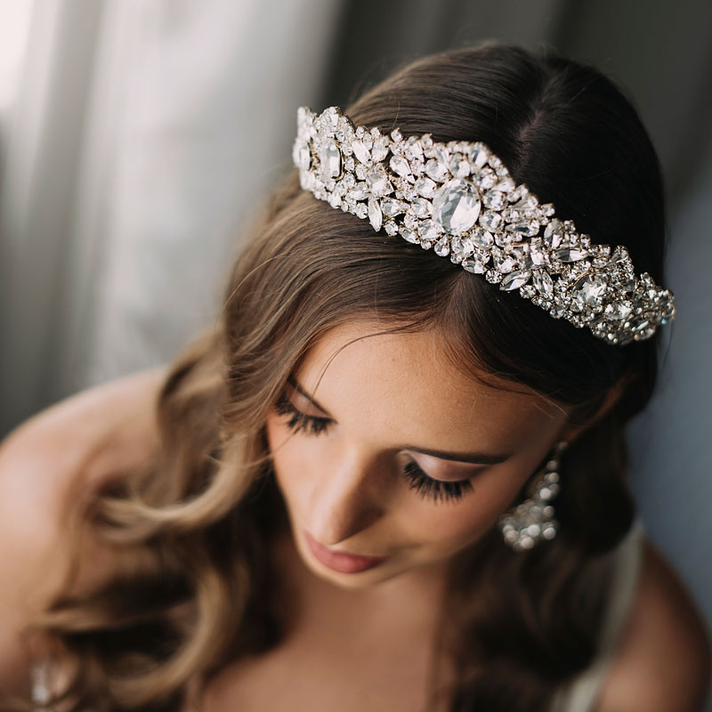Crystal gold bridal crown