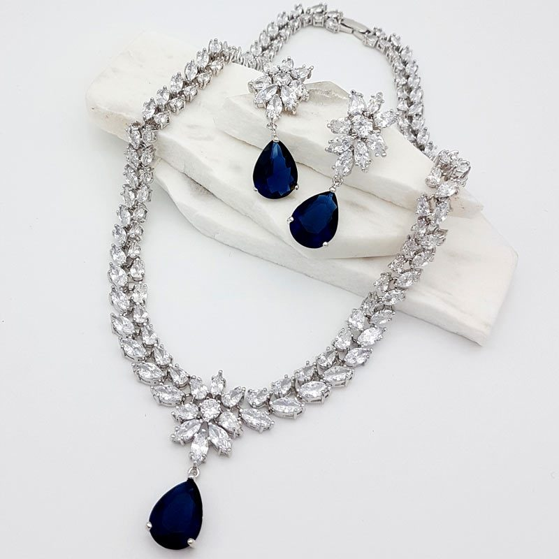 blue and clear cz necklace set