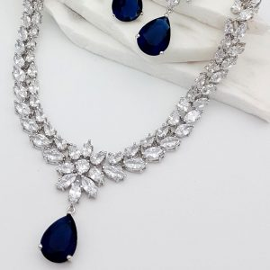 Blue bridal necklace & earring set