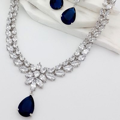 blue bridal necklace earring set