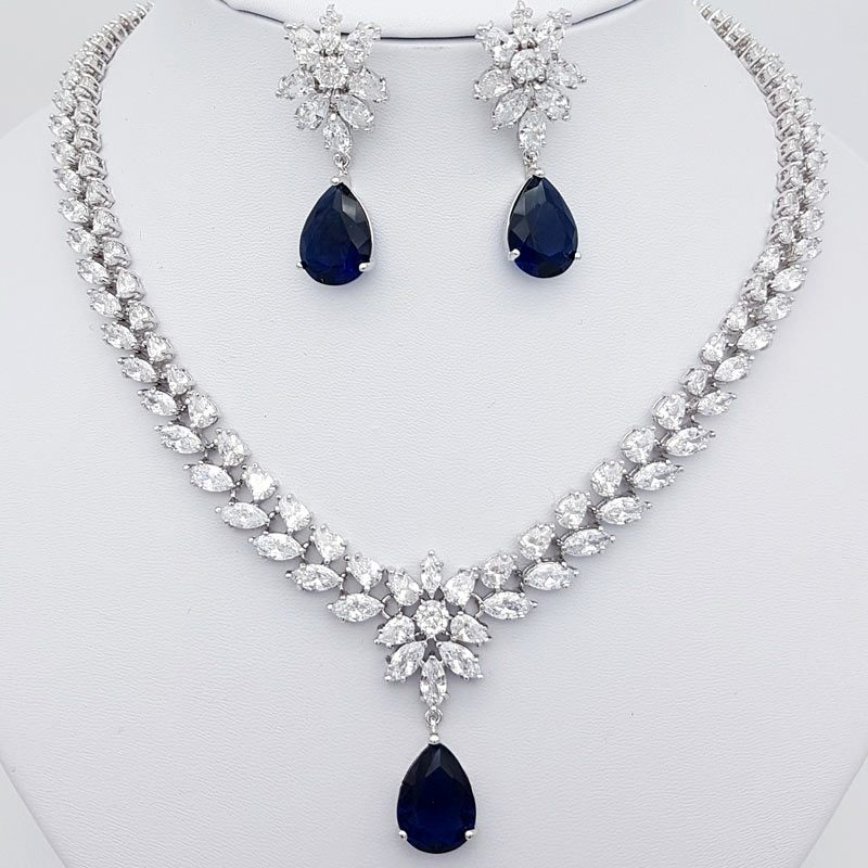 clear and blue cz bridal necklace set