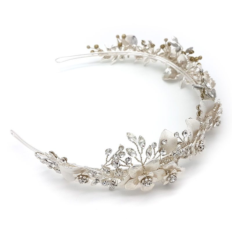 silver crystal and bridal crown and headband