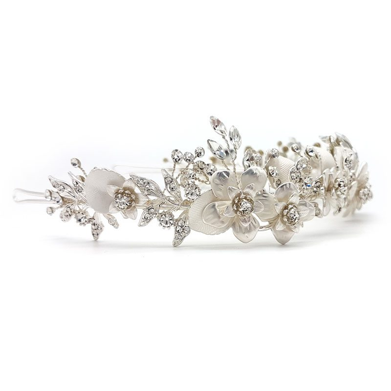 silver bridal headband and crown