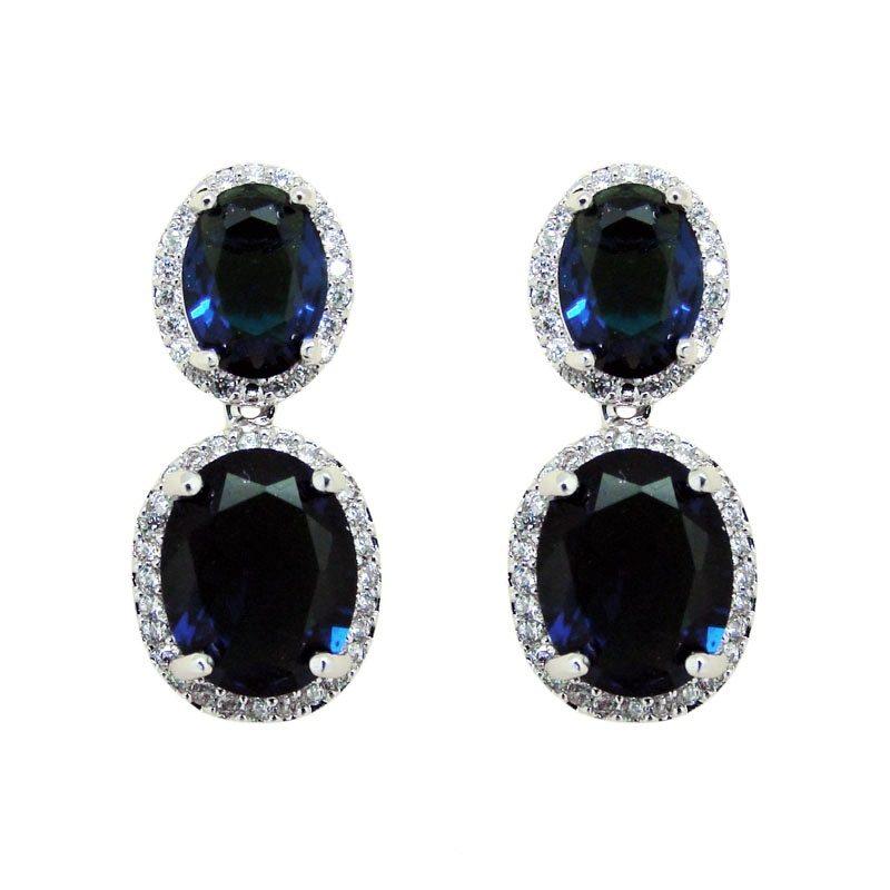 deep blue oval drop bridal earrings