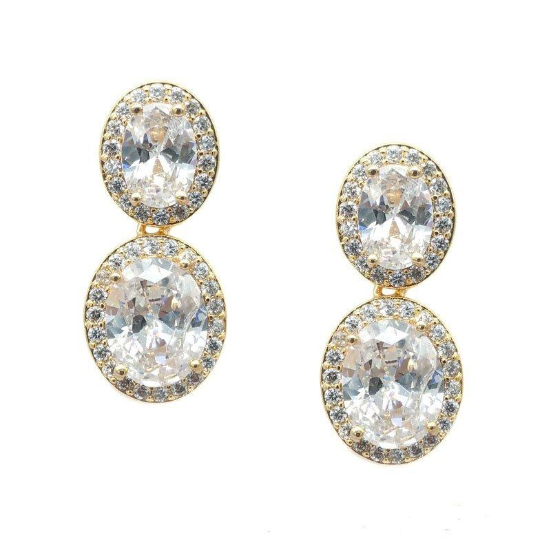 gold oval drop earrings
