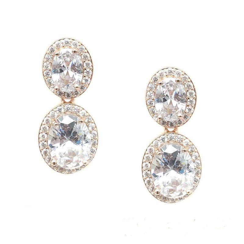 rose gold oval drop earrings