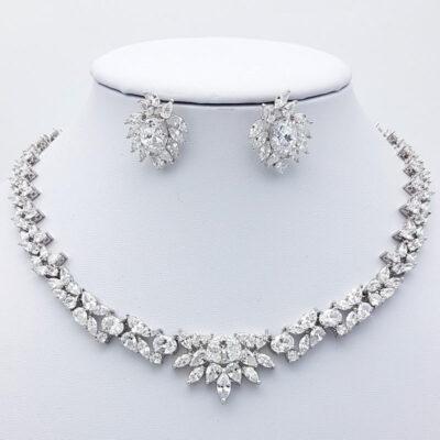 cubic zirconia silver bridal necklace set