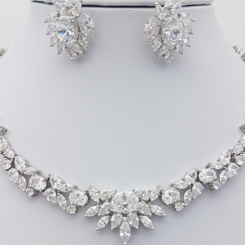 silver cz bridal necklace set