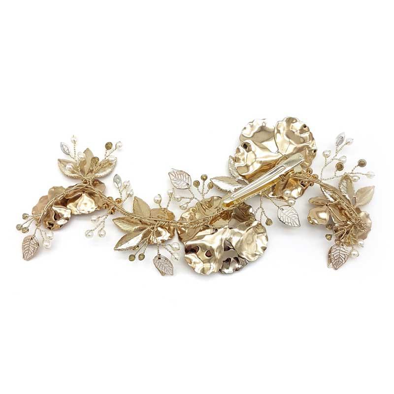 gold pearl crystal bridal hair comb